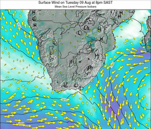 Swaziland Surface Wind on Wednesday 06 Aug at 8am SAST