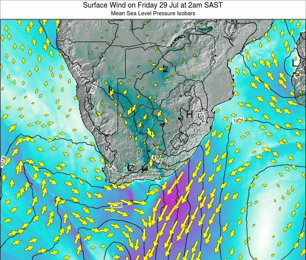 Swaziland Surface Wind on Sunday 16 Mar at 8am SAST