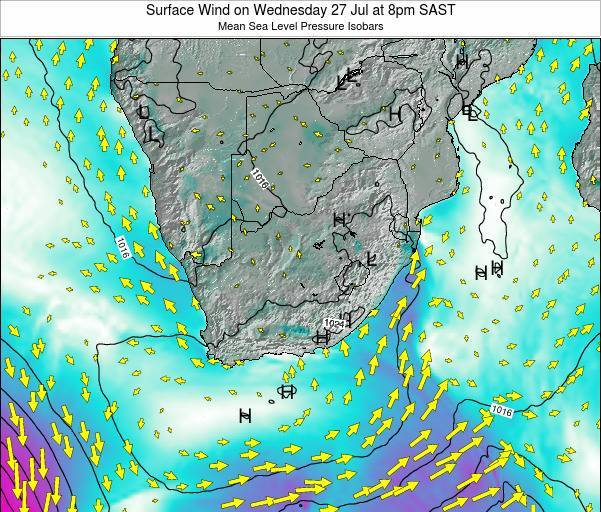 Swaziland Surface Wind on Sunday 27 Apr at 8pm SAST