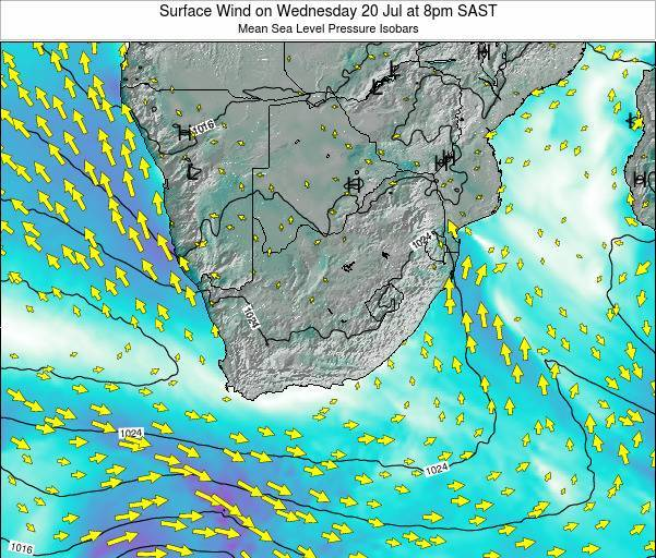 Swaziland Surface Wind on Saturday 02 Aug at 2pm SAST