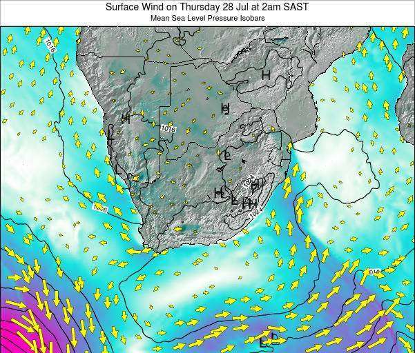 Swaziland Surface Wind on Thursday 30 May at 2am SAST
