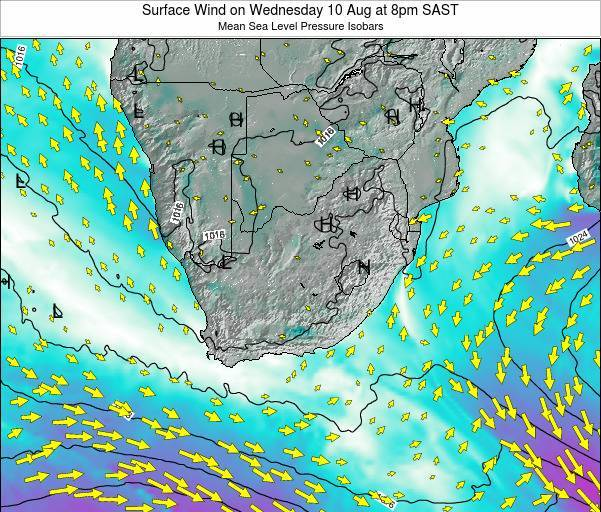 Swaziland Surface Wind on Tuesday 10 Dec at 8pm SAST