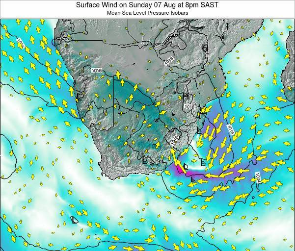 Swaziland Surface Wind on Tuesday 04 Nov at 2am SAST