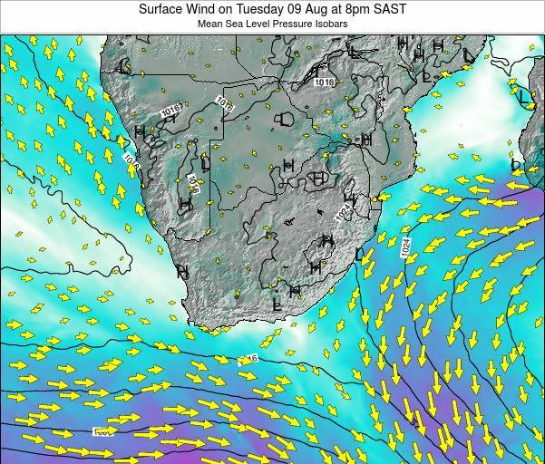 Swaziland Surface Wind on Wednesday 26 Oct at 8pm SAST