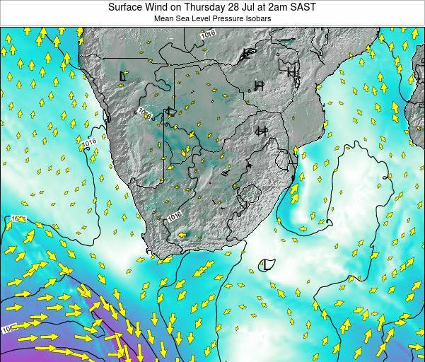 Swaziland Surface Wind on Sunday 03 Aug at 2pm SAST