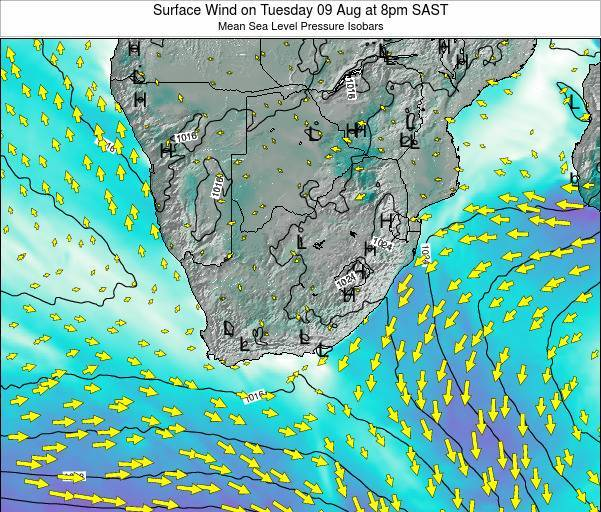 Swaziland Surface Wind on Saturday 02 Jul at 8am SAST