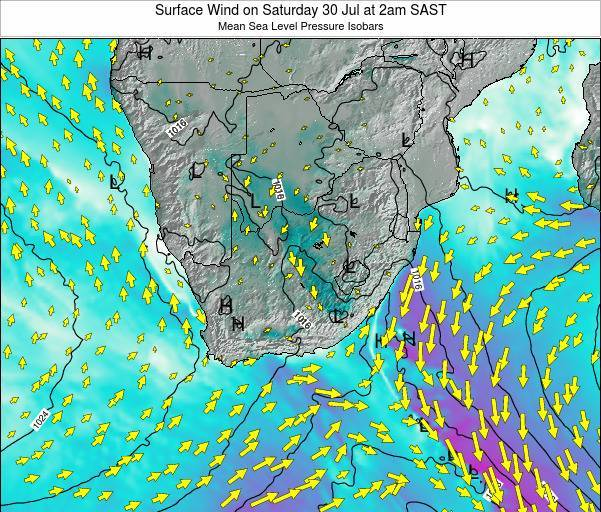 Swaziland Surface Wind on Friday 24 May at 8am SAST map