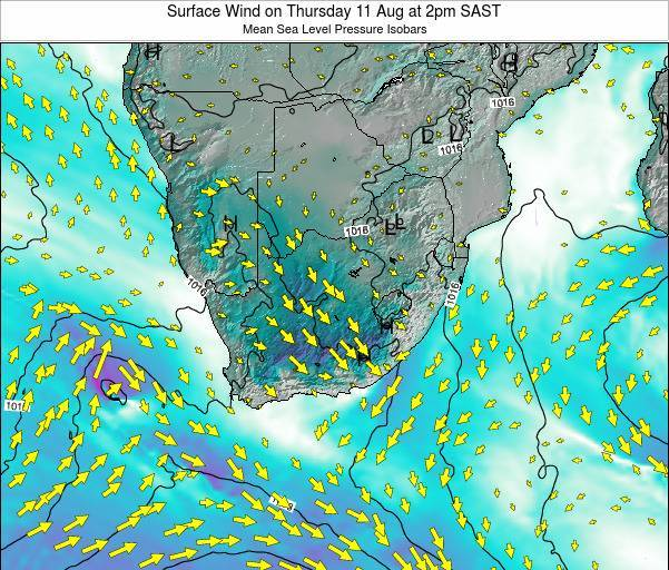 Swaziland Surface Wind on Monday 04 Aug at 2pm SAST