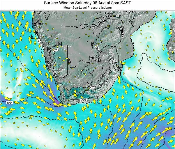Swaziland Surface Wind on Sunday 05 Apr at 2am SAST