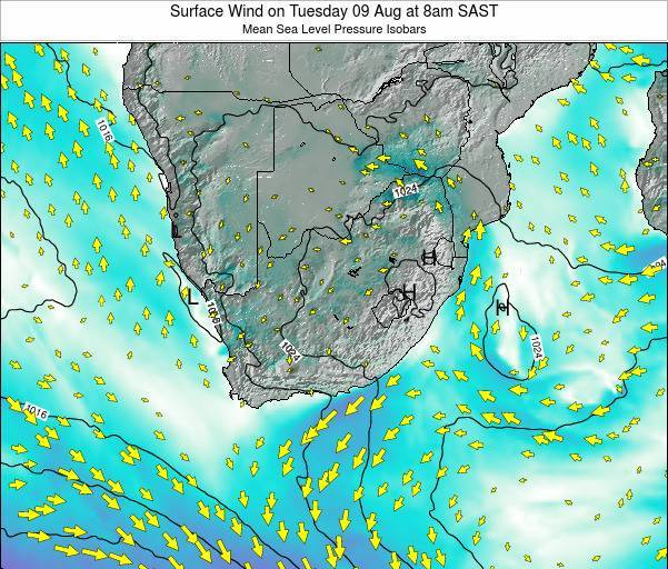 Swaziland Surface Wind on Thursday 24 Apr at 8am SAST