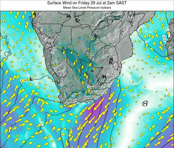 Swaziland Surface Wind on Monday 28 Apr at 8pm SAST