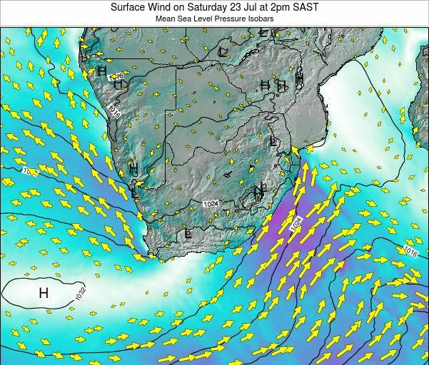 Swaziland Surface Wind on Sunday 16 Mar at 2am SAST