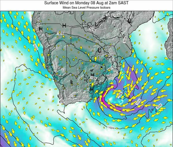 Swaziland Surface Wind on Tuesday 29 Apr at 2pm SAST
