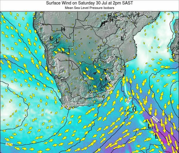 Swaziland Surface Wind on Thursday 03 Aug at 2am SAST