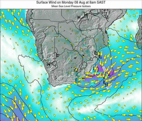 South Africa Surface Wind on Wednesday 22 May at 2am SAST