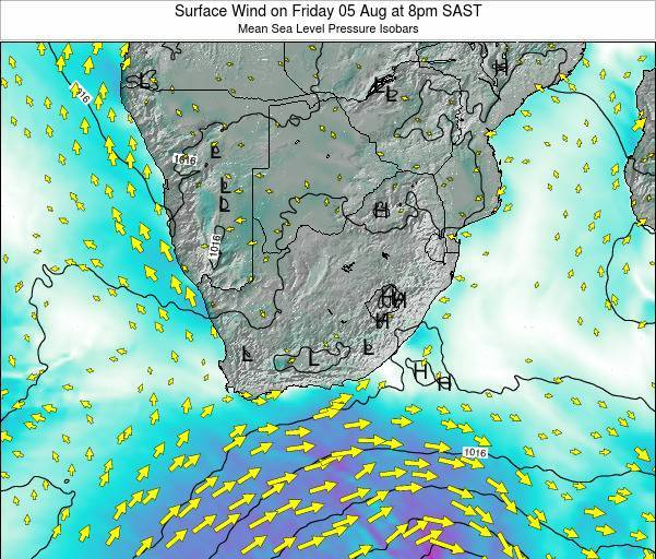 Swaziland Surface Wind on Sunday 27 Jul at 2pm SAST