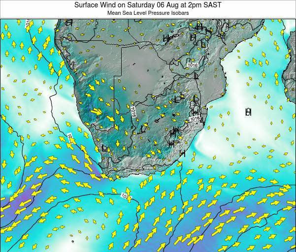Swaziland Surface Wind on Tuesday 25 Nov at 2am SAST