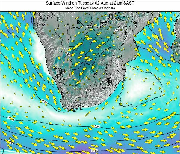 Swaziland Surface Wind on Wednesday 22 May at 2am SAST map