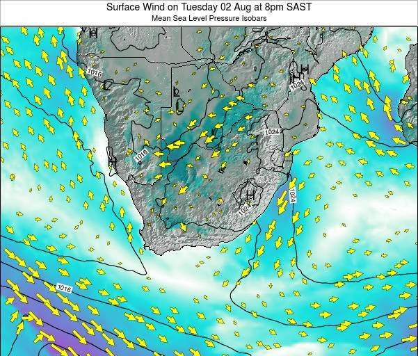 Swaziland Surface Wind on Saturday 23 Jun at 2pm SAST map
