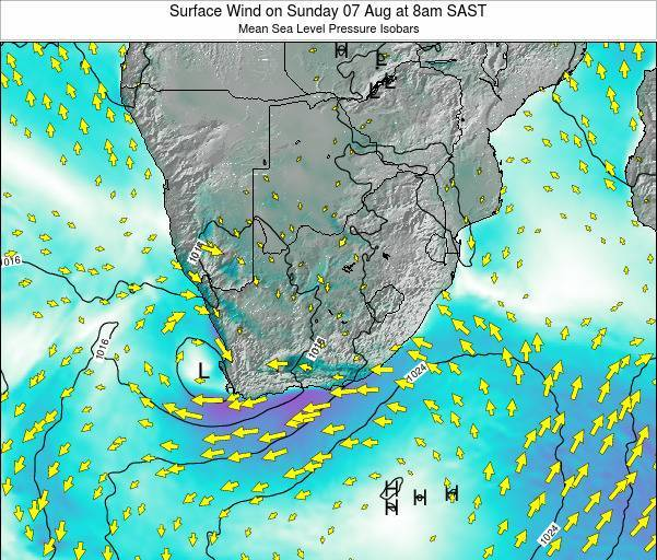 South Africa Surface Wind on Friday 24 May at 2am SAST