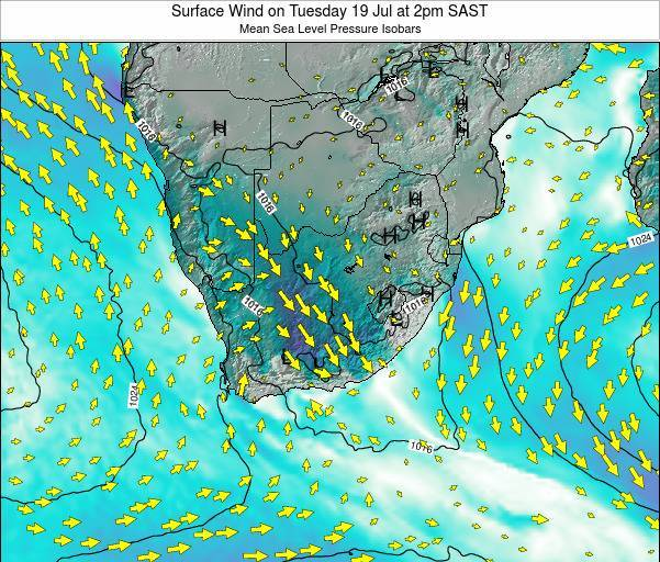 Swaziland Surface Wind on Wednesday 22 May at 2pm SAST