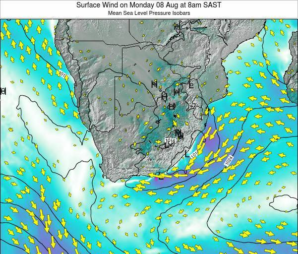 Swaziland Surface Wind on Friday 29 May at 2pm SAST