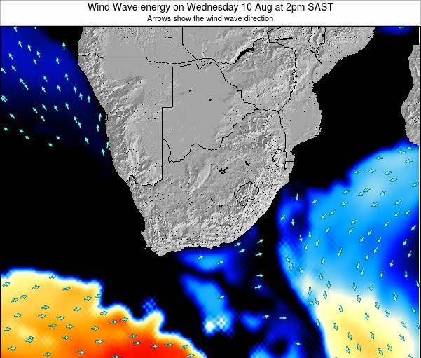 South Africa Wind Wave energy on Tuesday 26 Aug at 2am SAST