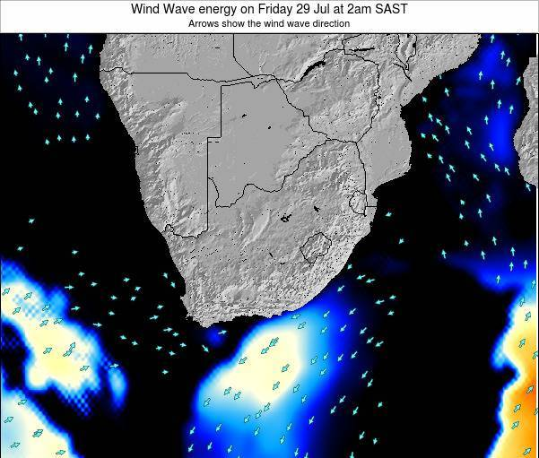 South Africa Wind Wave energy on Thursday 25 Jan at 8am SAST map