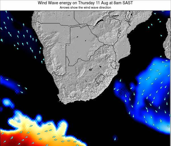 South Africa Wind Wave energy on Tuesday 24 Jan at 2am SAST