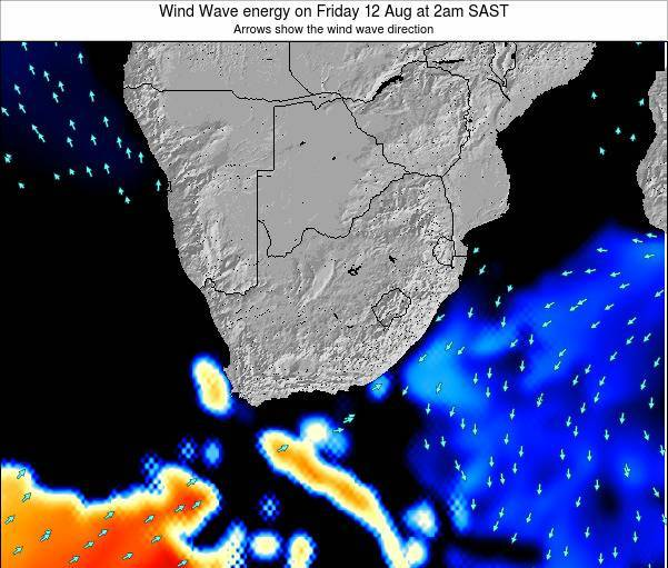 South Africa Wind Wave energy on Wednesday 23 Aug at 8am SAST