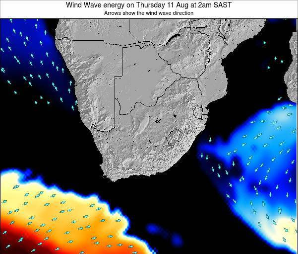 South Africa Wind Wave energy on Monday 28 Jul at 8am SAST