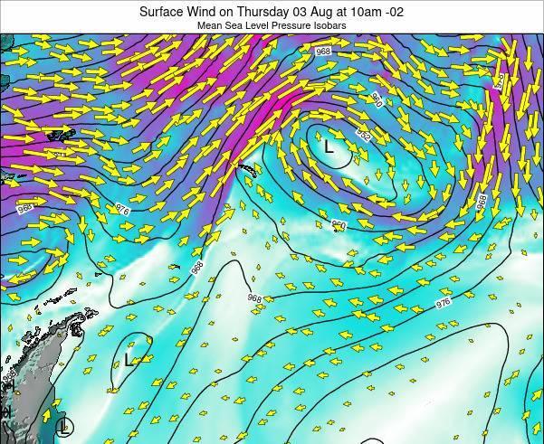 SouthGeorgiaandtheSouthSandwichIslands Surface Wind on Friday 15 Dec at 10pm GST map