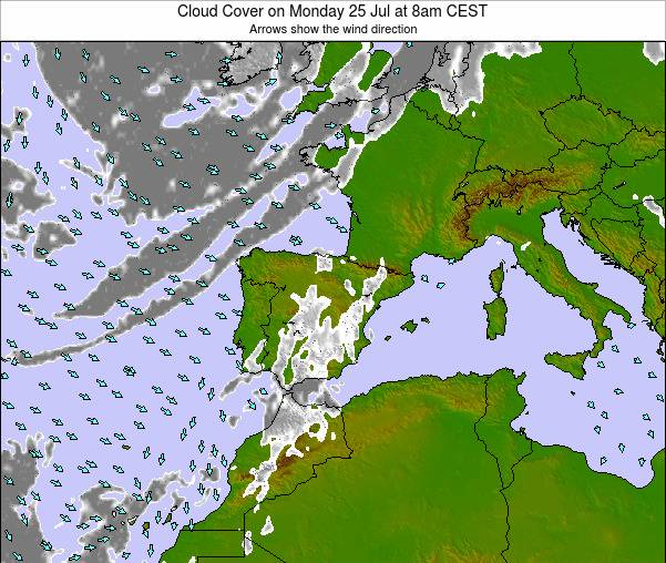 Spain Cloud Cover on Sunday 26 May at 2pm CEST
