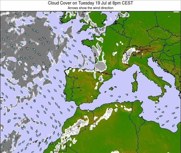 Weather Map Of Spain.Spain Cloud Cover On Sunday 10 Feb At 1pm Cet