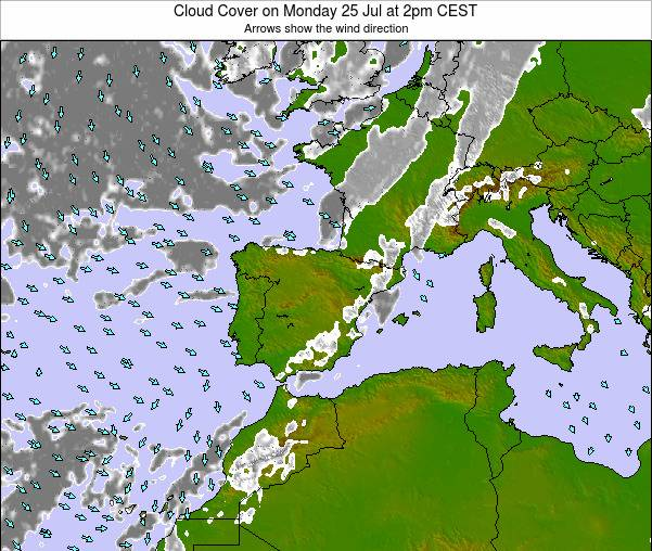 Spain Cloud Cover on Monday 20 May at 8pm CEST