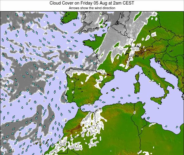 Map 24 Spain.Spain Cloud Cover On Sunday 25 Aug At 8am Cest