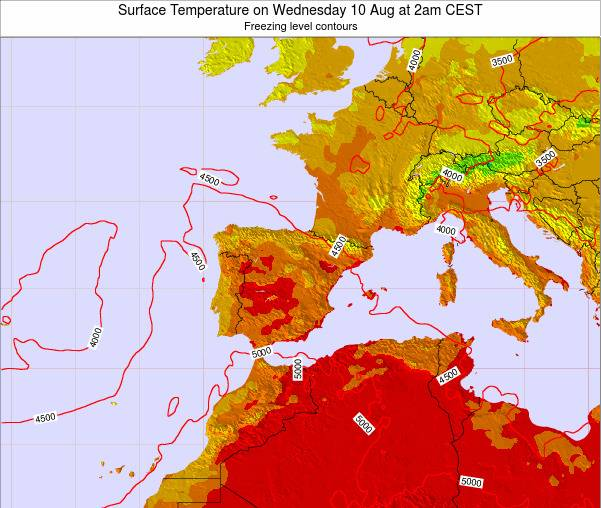 Spain Surface Temperature on Tuesday 28 May at 8am CEST