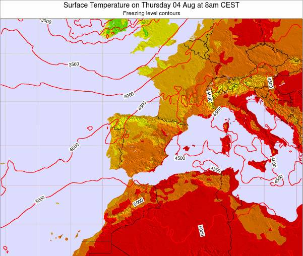 Spain Surface Temperature on Monday 27 May at 8am CEST