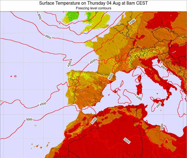 Spain Surface Temperature on Friday 24 May at 8pm CEST