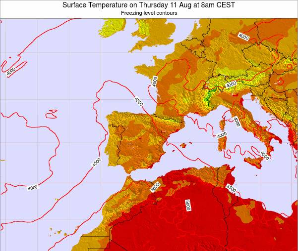 Spain Surface Temperature on Friday 24 May at 2am CEST