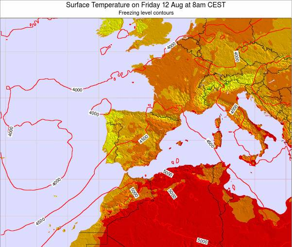 Spain Surface Temperature on Tuesday 25 Jun at 2pm CEST