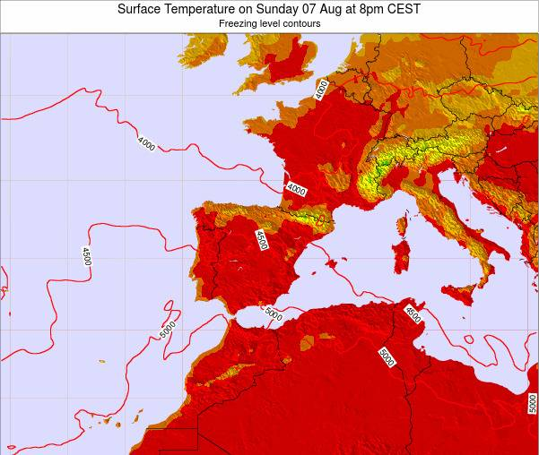 Spain Surface Temperature on Wednesday 29 May at 8pm CEST