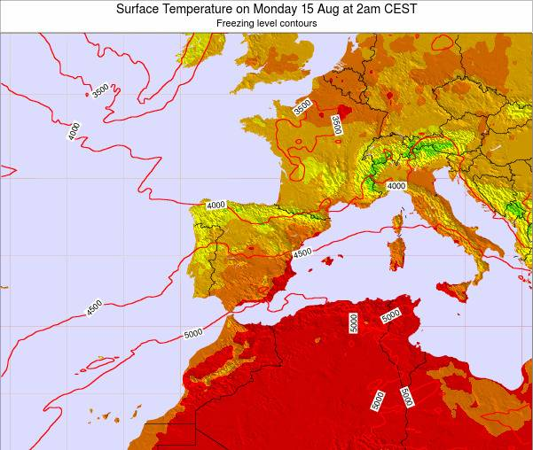 Spain Surface Temperature on Sunday 26 May at 8am CEST