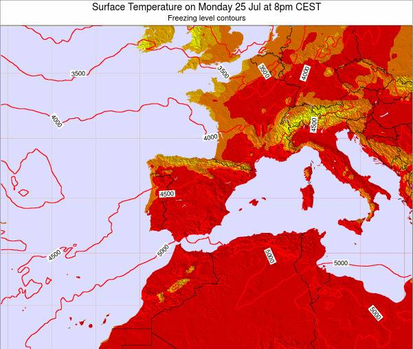 Spain Surface Temperature on Thursday 23 May at 2am CEST