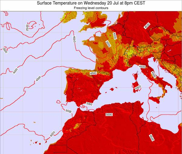 Spain Surface Temperature on Tuesday 28 May at 2am CEST