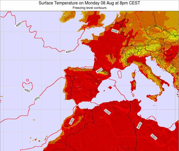 Spain Surface Temperature on Friday 24 May at 2pm CEST