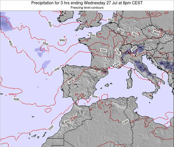 Spain Precipitation for 3 hrs ending Tuesday 05 Aug at 2am CEST