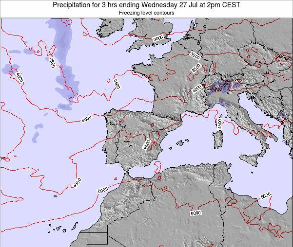 Spain Precipitation for 3 hrs ending Thursday 12 Dec at 7am CET