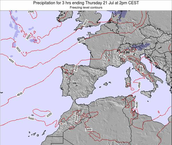 Spain Precipitation for 3 hrs ending Monday 15 Feb at 1am CET