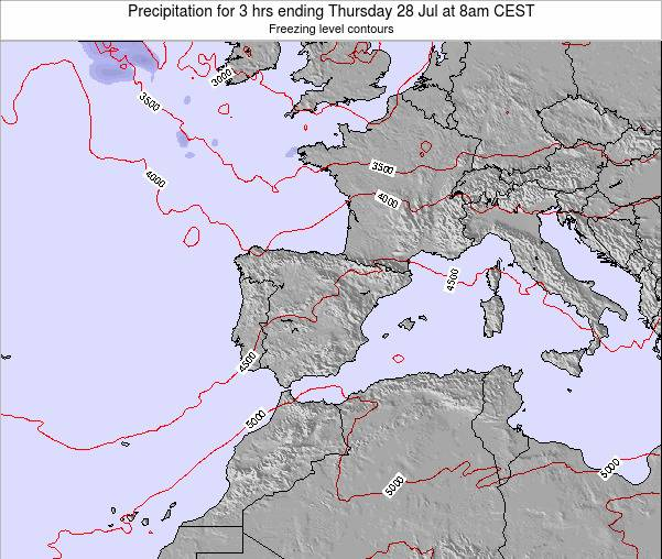 Spain Precipitation for 3 hrs ending Monday 21 Apr at 8pm CEST